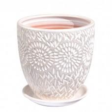 Горшок керамический Бутон Астра бело-жемчужный