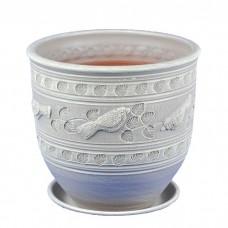 Горшок керамический Птицы белый (4.5 л)