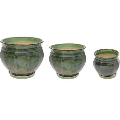 Комплект горшков керамических Мираж (зеленый)