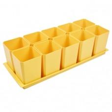 Набор горшков для рассады Пеликан, 750 мл, 10 шт, на поддоне (желтый)