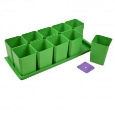 Набор горшков для рассады Пеликан, 750 мл, 10 шт, на поддоне (зеленый)
