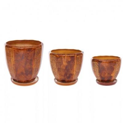 Комплект горшков керамических Спарта (коричневый)
